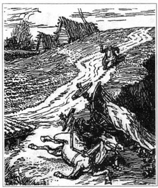 Обоз. Художник А. Лаптев. 1944