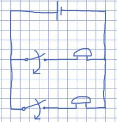 Схема один гальванический элемент и два звонка