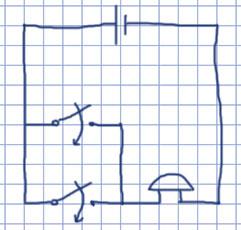 Схема цепи, в которой есть элемент, звонок и две кнопки