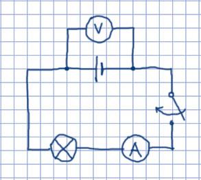 Схема амперметр и вольтметр