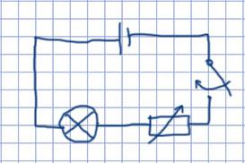 Схема цепи из источник тока, ключа, электрической лампы и ползункового реостата